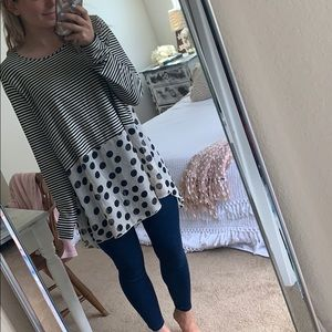 Camille and Co Boutique striped/polka dotted top